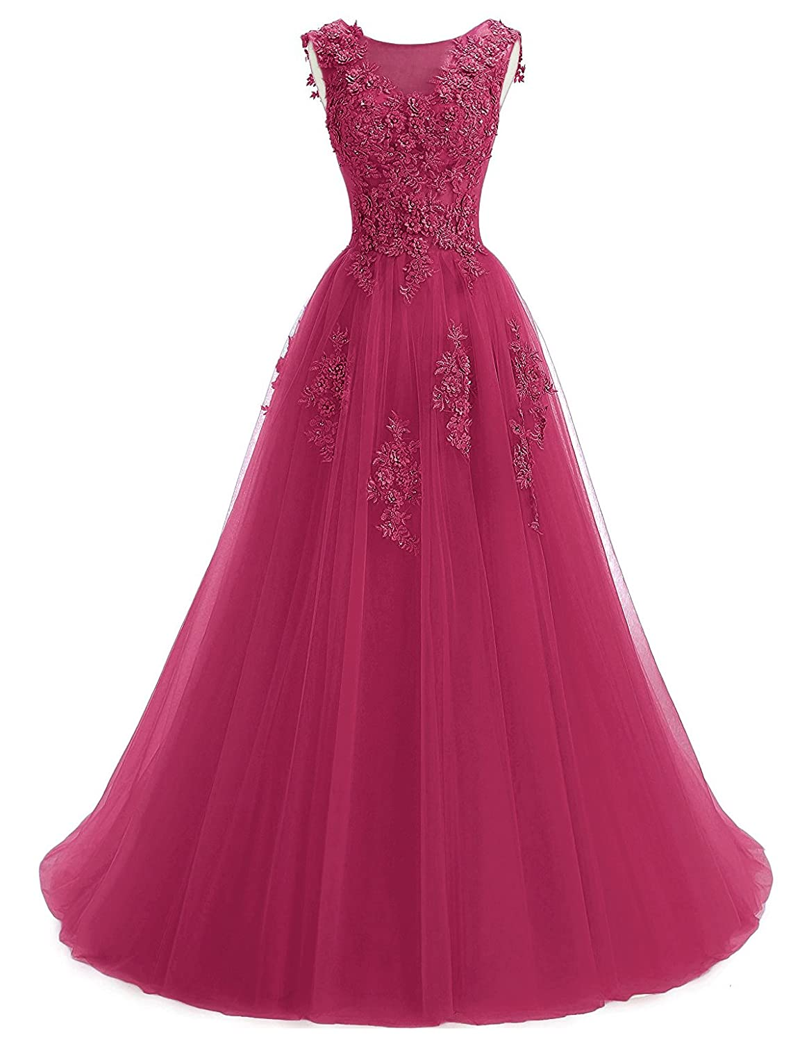 Fuchsia Annxpink Women's Long Sheer Scoop Neck Beaded Pearls Flowers Tulle ALine Prom Gown Formal Evening Dress