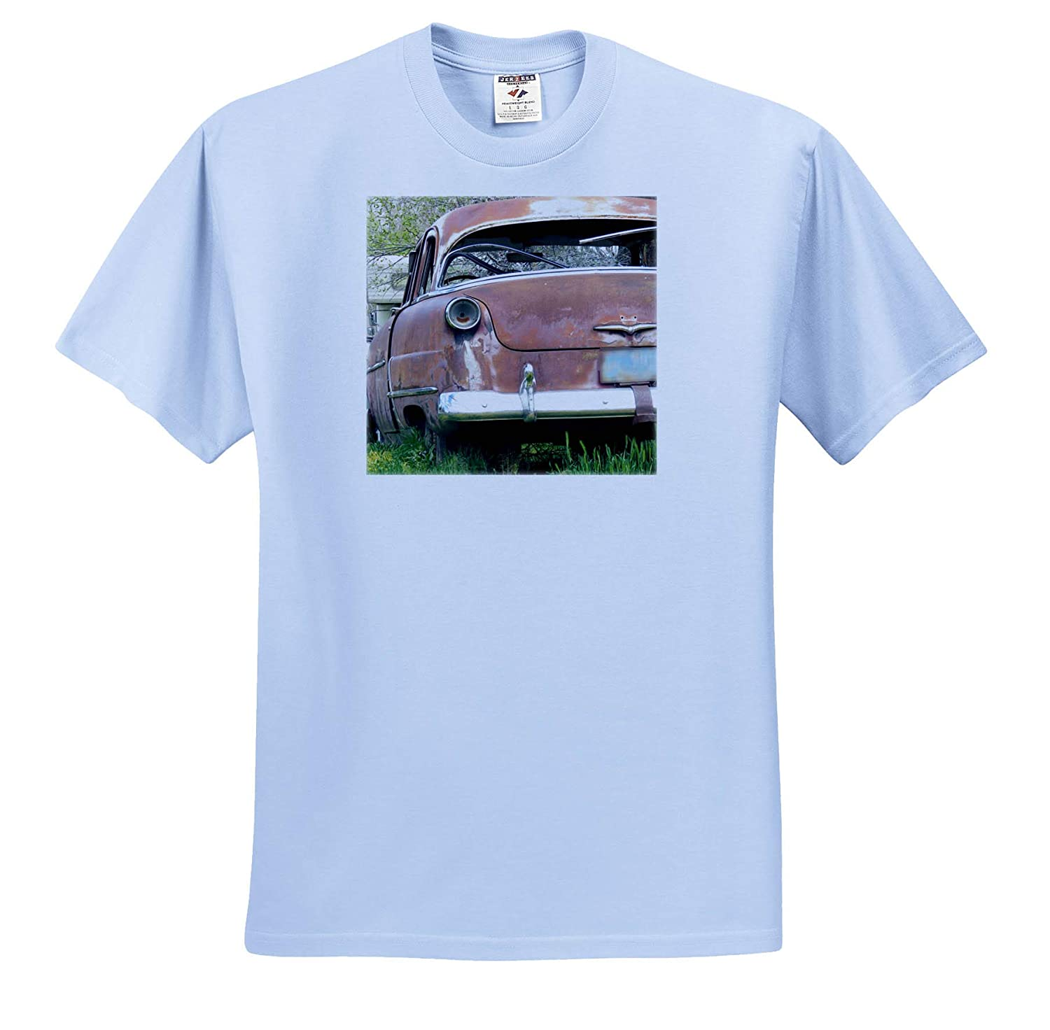 Adult T-Shirt XL 3dRose Jos Fauxtographee- Car ts/_318974 an Old car Parked in Some Tall Grass