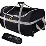 REDCAMP Foldable Duffle Bag with Wheels 85L/120L, 1680D Oxford Collapsible Large Duffel Bag with Rollers for Camping Travel G