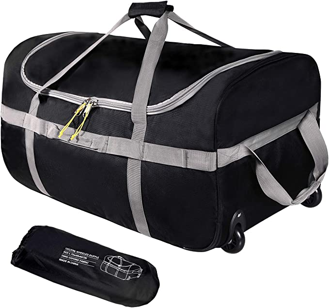 Gonex 65L Sports Duffel Bag Foldable Water Resistant Travel kit Bag Lightweight Holdall Bag with Big Capacity for Luggage Gym Sports Black