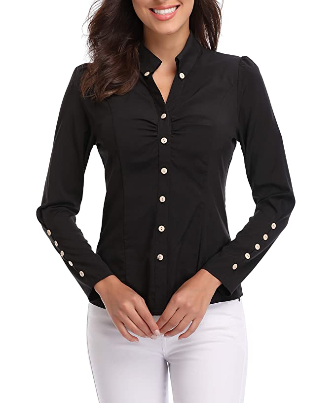 5667cffc2ca38 MISS MOLY Women s Long Sleeve White Collar Shirt Button Down V Neck Ruched  Front Tops Work Blouse for Office and Casual at Amazon Women s Clothing  store