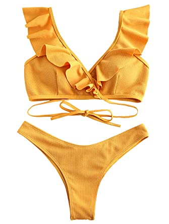 09714e87c406 Amazon.com: ZAFUL Womens Tie Knot Front Swimsuit High Waisted Bikini Sets  Two Piece Swimwear Beachwear: Clothing