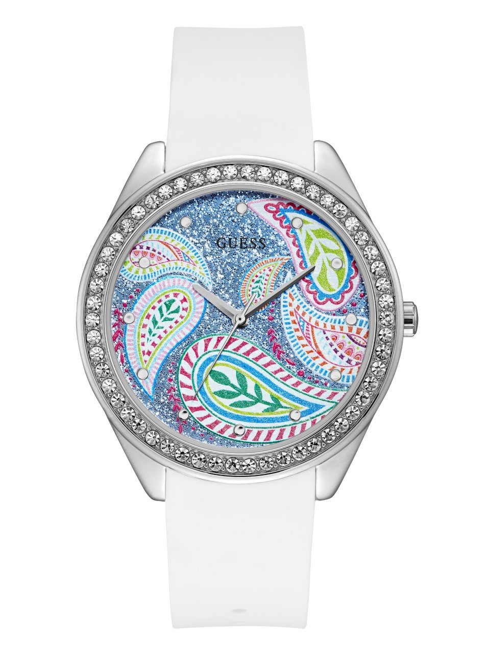 Guess Women's Stainless Steel Silicone Paisley Crystal Accented Watch, Color Paisley/White (Model: U1066L1)