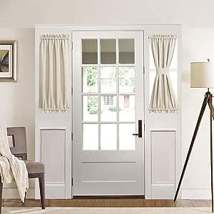 Aquazolax Plain Blackout Curtains French Door Panels Premium 1 Piece 54 x 72 Light Saga Beige