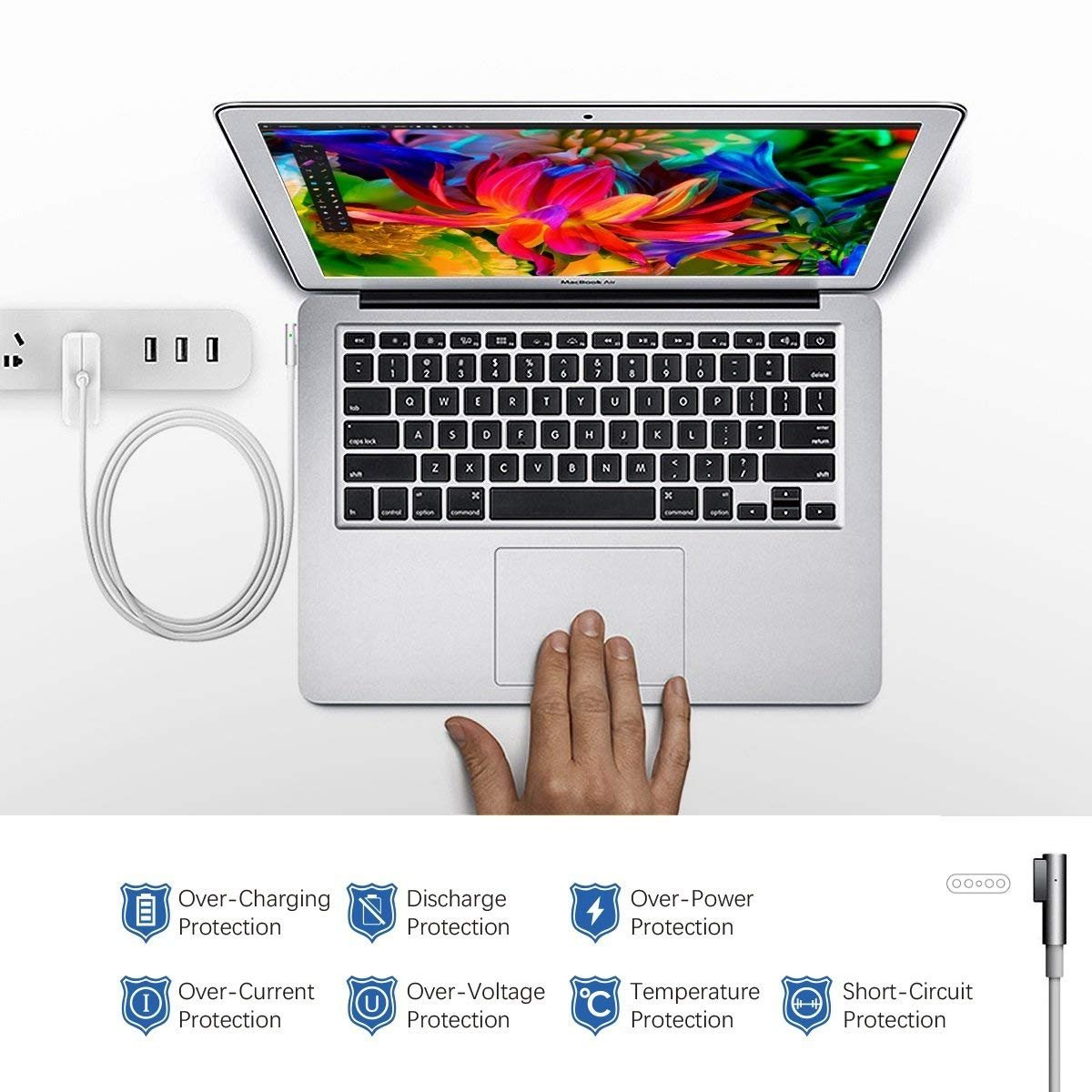 QIANXIANG Laptop Charger,L Tip/Shape/Style Magnetic Connect 60W AC Replacement Power Adapter,Laptop Charger Compatible MacBook Pro 13 inch Retina A1181/A1278/A1184/A1330(2009/2010/2011/2012)