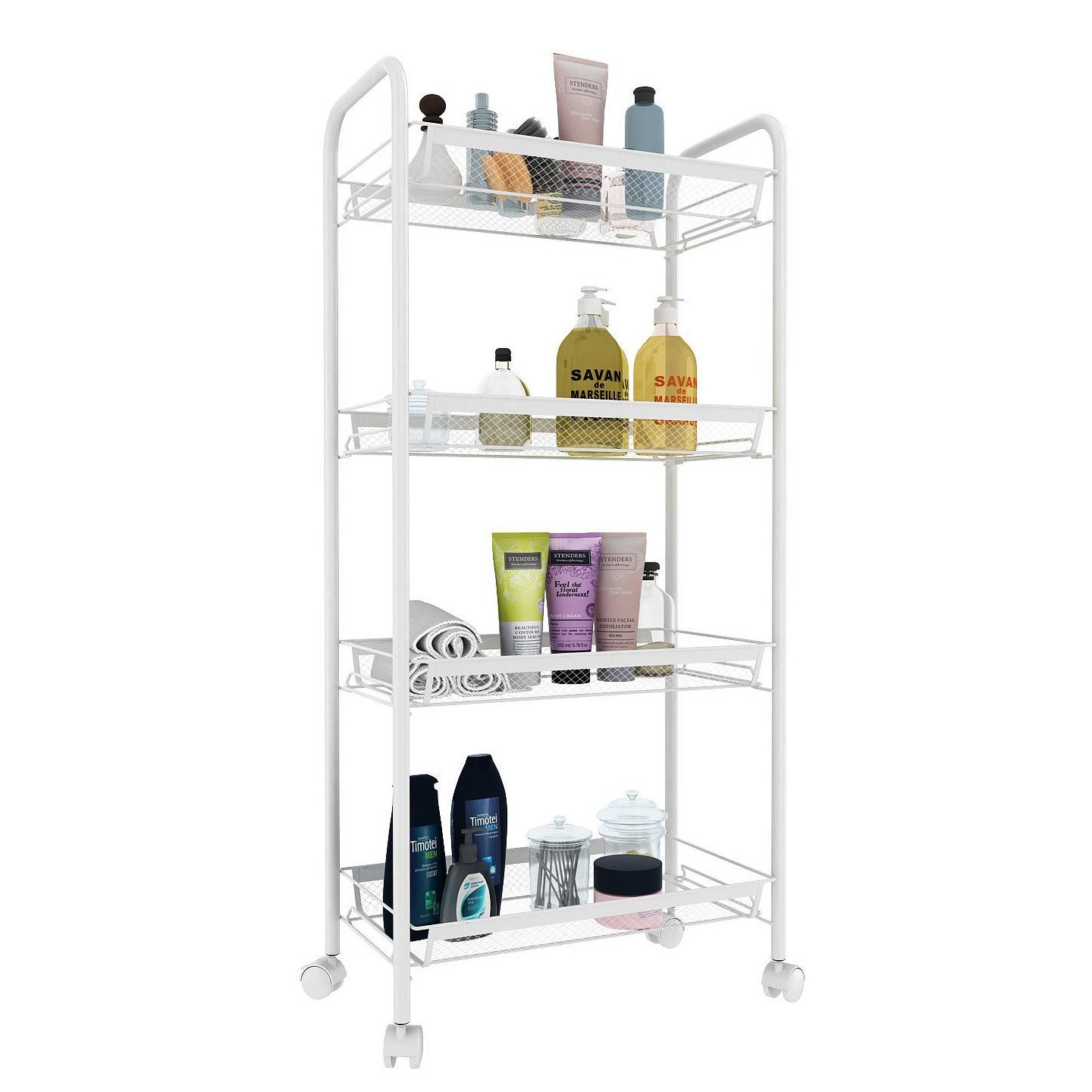 All Purpose Shelving, 3-Tier Mesh Mesh Serving Trolley Sturdy Rolling Cart with Metal Handle and 5 Hooks for Kitchen Home Office (UK STOCK) Cooshional