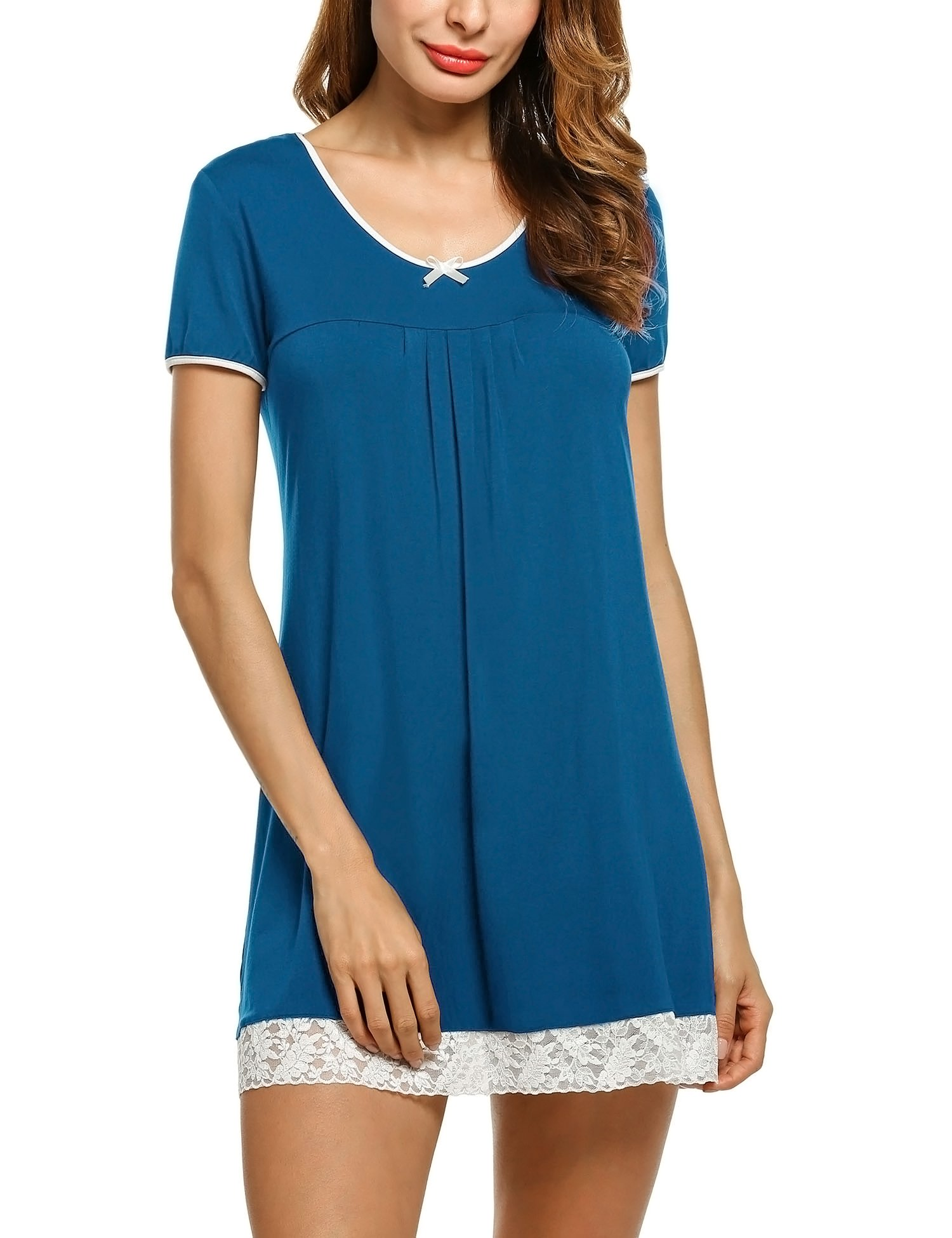 HOTOUCH Knitted Jersey Nightgown Woman Short Sleeve Night Shirts Peacock blue M