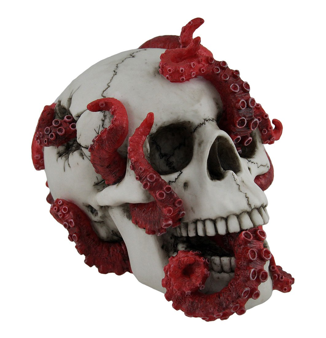 Veronese Resin Statues The Abyss Lurks Within Red Octopus Inhabiting A Human Skull Statue 7 X 5.25 X 4.5 Inches White