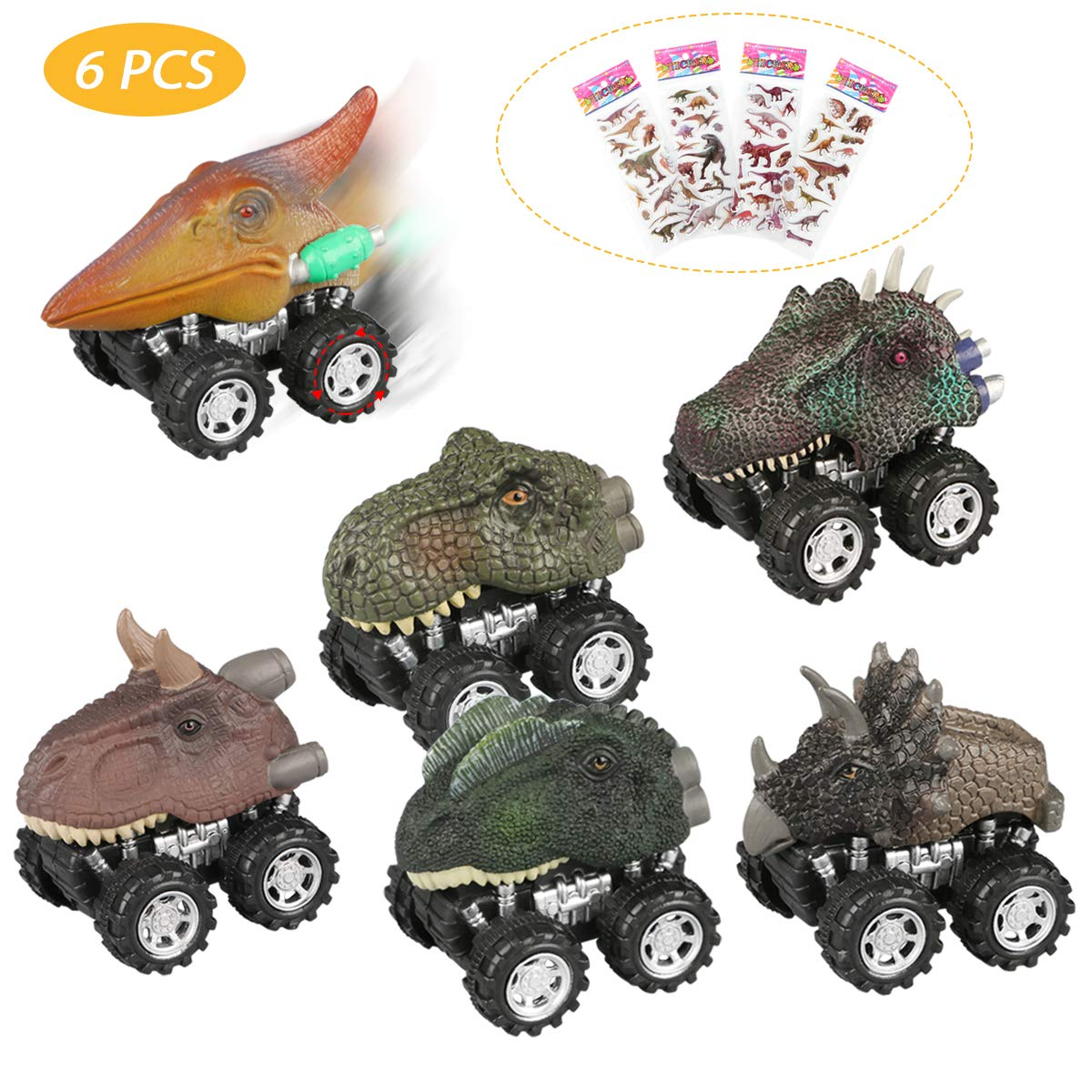 Estela Pull Back Dinosaur Cars, 6 Pcs Realistic Dinosaur Toy Cars with Big Wheel, Non-Toxic & Safe Plastic Pull Back Dinosaur Vehicle Set Bonus with Dinosaur Stickers, Creative Gift for Kids