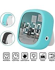 Petit Réveil de Voyage Pliable Rétro-éclairage,Horloge Digital Réveil Electronique Écran LCD avec Snooze Date Affichage Décibels Contrôle ,peut être utilisé comme un miroir Pour Maison Bureau voyage