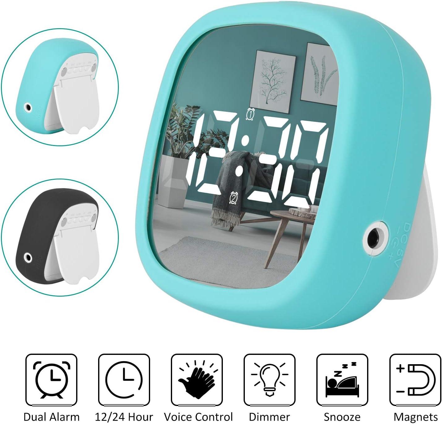 Shayson Reloj Despertador Viaje Digital Portatil, Despertador Electrónico LED con 2 Alarma/Función Snooze/imán/Control de Voz/Ajuste Manual de Brillo Viaje con Pilas Que no Posponer