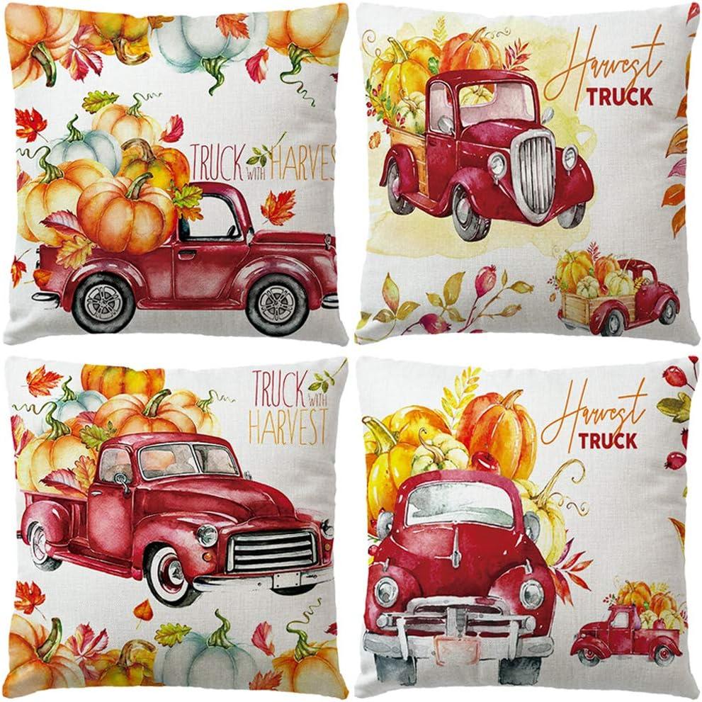 """Set Of 4 Fall Pumpkin Pillow Covers Retro Red Truck & Maple Leaves Cushion Cover Hello Autumn Harvest Farmhouse Decorative Cotton Linen Pillowcases 18"""" x 18"""" for Thanksgiving D (Truck Pumpkin)"