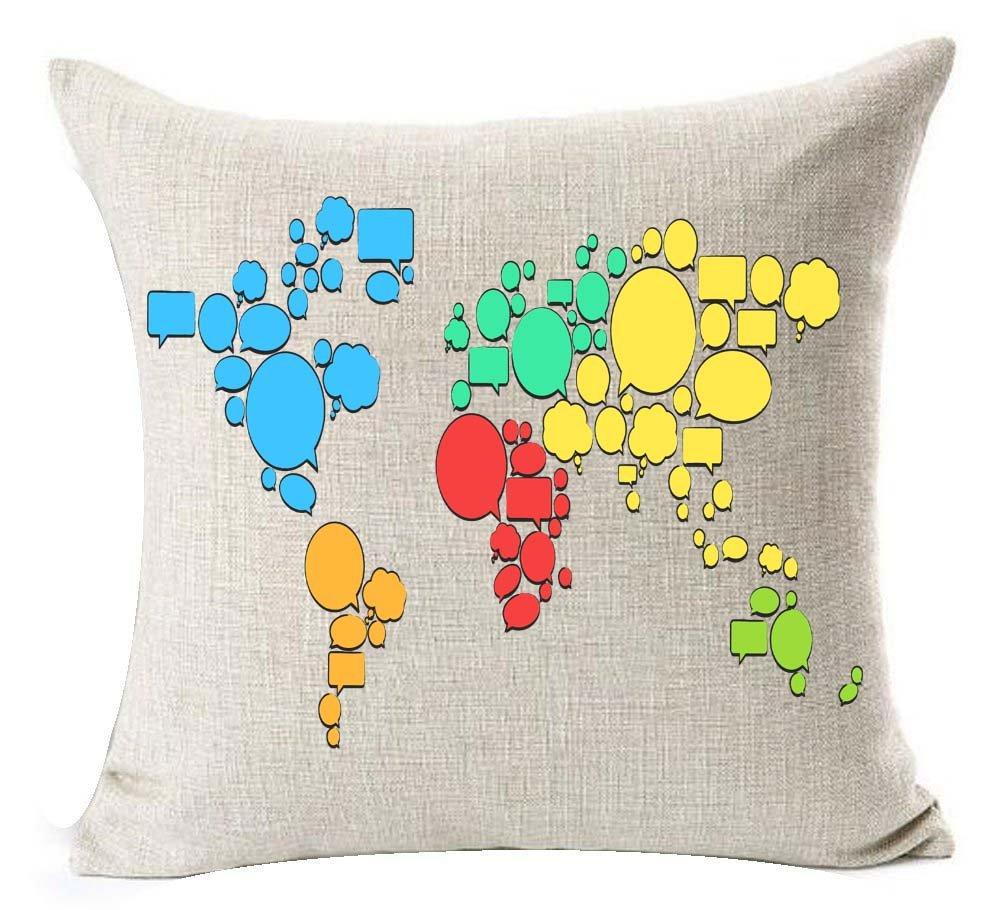 Andreannie Color World Map Cotton Linen Throw Pillow Case Cushion Cover Home Office Decorative Square 18 X 18 Inches (Blue) andreannie-1228