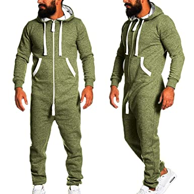 dd54abe00269 Doingshop Men s Long Sleeve One Zip Onesie Hoodie Jumpsuit Playsuit All in  One Piece Pajama PJ