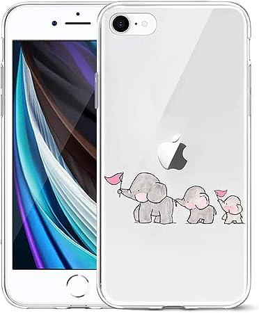 Oihxse Compatibile per [iPhone 7/8 Cover ] [iPhone SE 2020] Sottile Leggera Silicone Trasparente Anti Scivolo Graffi Morbido TPU Design Creativo Cover ...