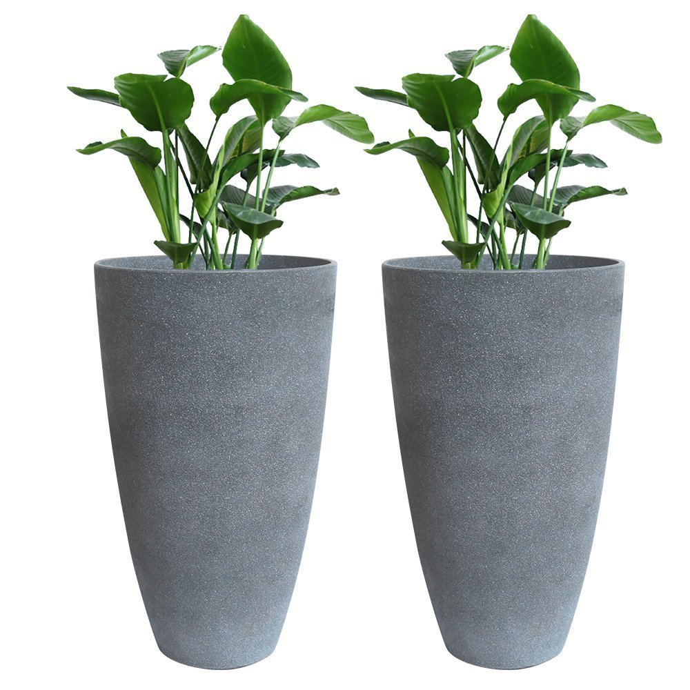 Tall Planter Set 2 Flower Pots, 20'' Each, Patio Deck Indoor Outdoor Garden Planters, Gray by LA JOLIE MUSE
