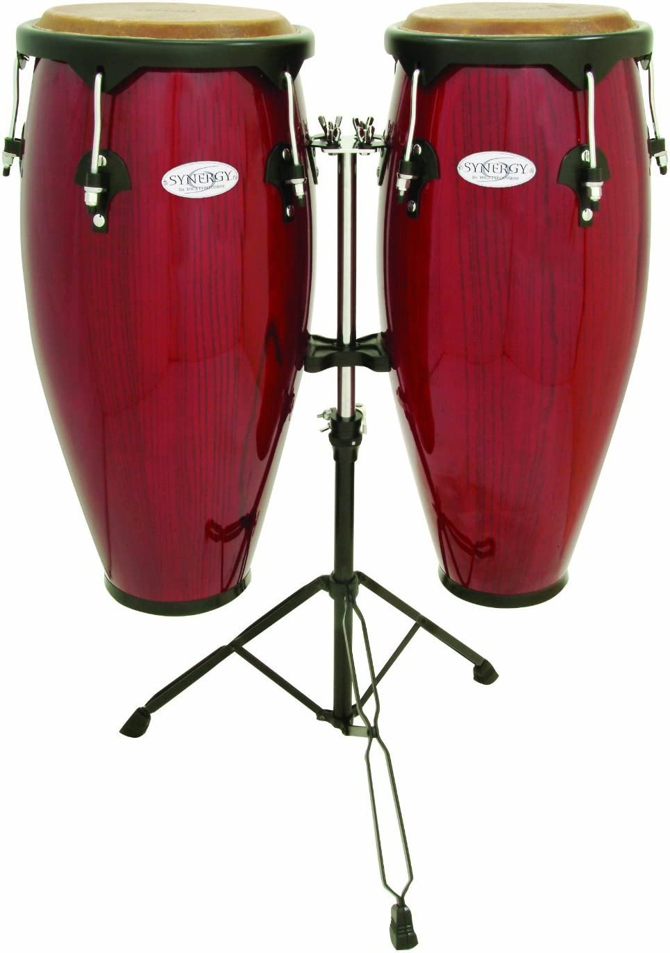 Red Toca Synergy Wood Conga Set w// Double Stand