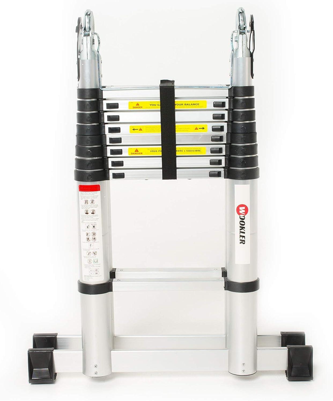 WOOKLER® Escalera Telescópica Tijera 5.6m Calidad Seguridad Superior PRO Aluminio Extensible Sólida y Duradera Multifunción con con 2 Estabilizadores: Amazon.es: Bricolaje y herramientas