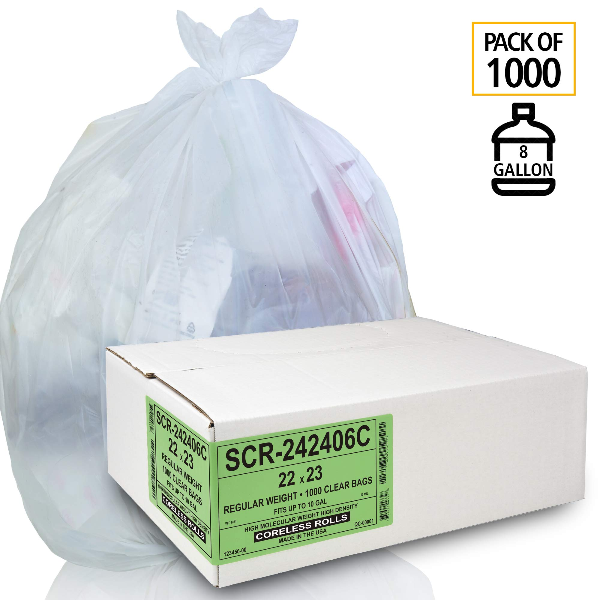 Aluf Plastics 8 Gallon Trash Bags - (Commercial 1000 Pack) - Source Reduction Series Value High Density 6 Micron Gauge - Intended for Home, Office, Bathroom, Paper, Styrofoam