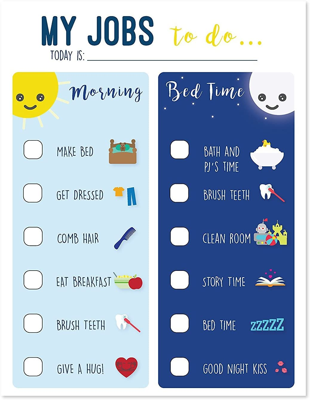 Routine Chart for Kids, Chart for Morning and Bedtime, Responsibility Chart, Home and Teaching Resource, Skills Development for Kids, Behavior Chart for Kids, Morning and Evening Routine