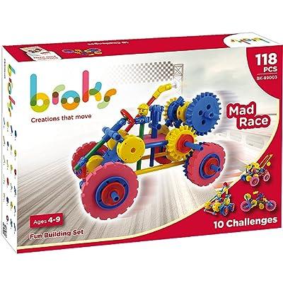 Broks Mad Race - Juego de construcción con 118 Piezas encajables incluidos Engranajes niños y niñas de 4 a 9 años: Juguetes y juegos