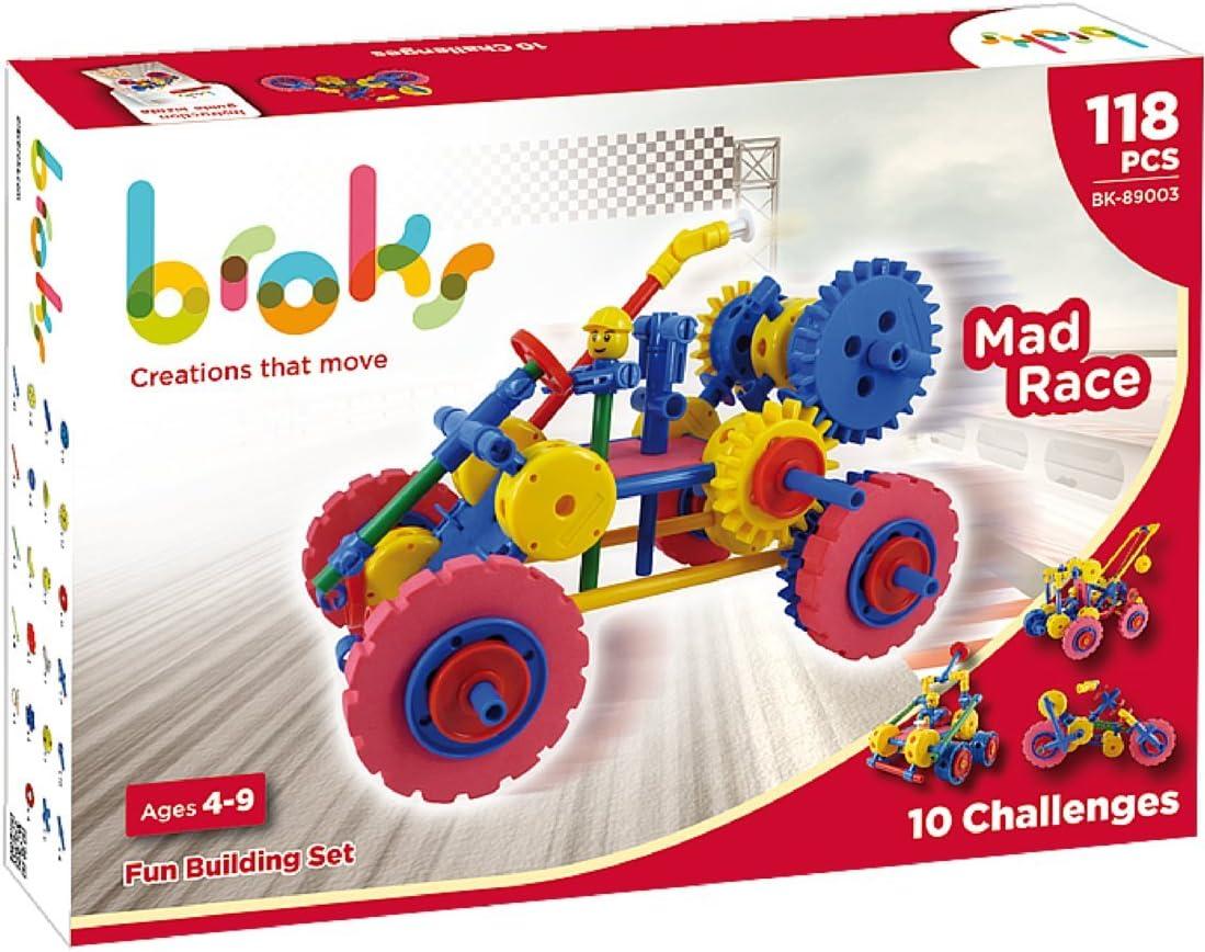 Broks Mad Race - Juego de construcción con 118 Piezas encajables incluidos Engranajes niños y niñas de 4 a 9 años