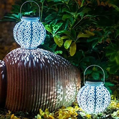 SteadyDoggie Solar Lanterns 2 Pack - Hanging Solar Lights with White LED - Retro Ornate Hanging Solar Lantern with Handle 4 Lumens : Garden & Outdoor