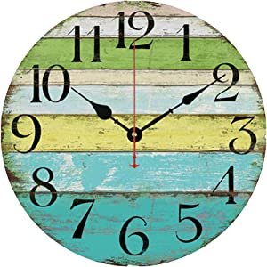 "Grazing 12"" Vintage Blue Green Yellow Colorful Stripe Design Rustic Country Tuscan Style Wooden Decorative Round Wall Clock (Ocean)"