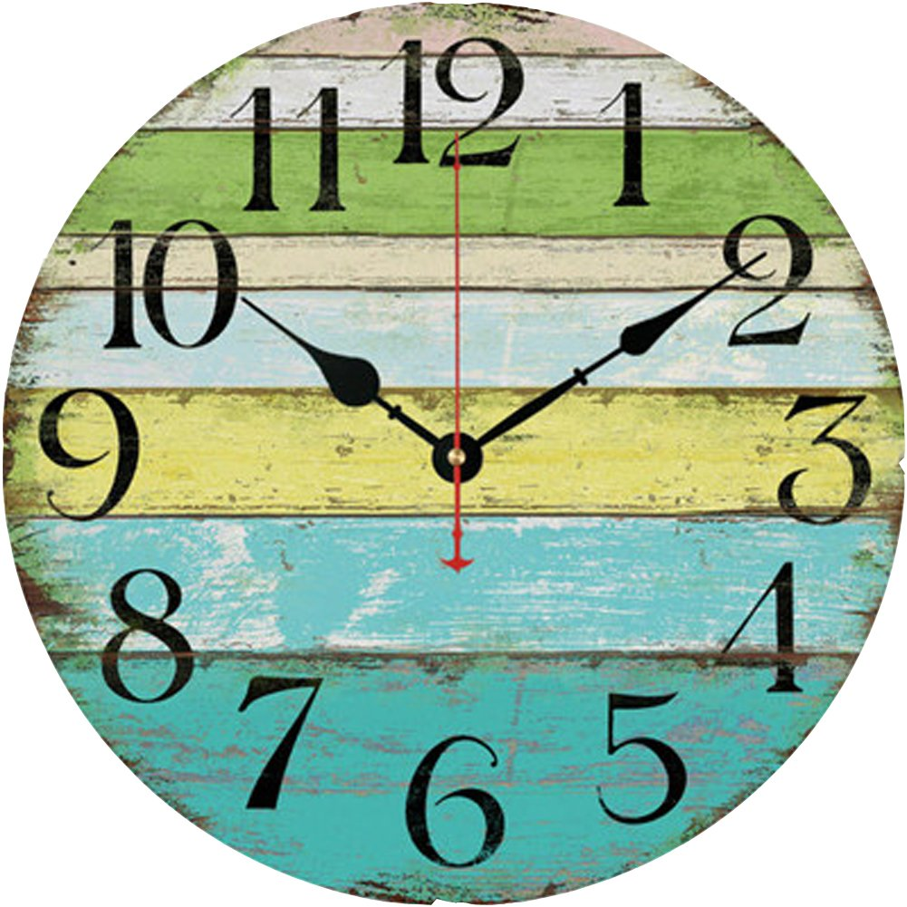 Beach theme wall clock look old vintage hanging shabby round beach theme wall clock look old vintage hanging shabby round wooden decoration amipublicfo Images