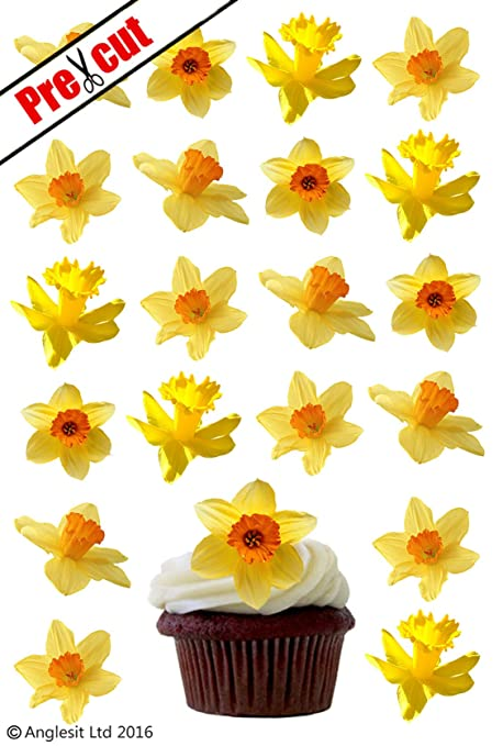 24 X DAFFODIL FLOWERS EDIBLE WAFER /RICE PAPER CUPCAKE CAKE TOPPERS ...