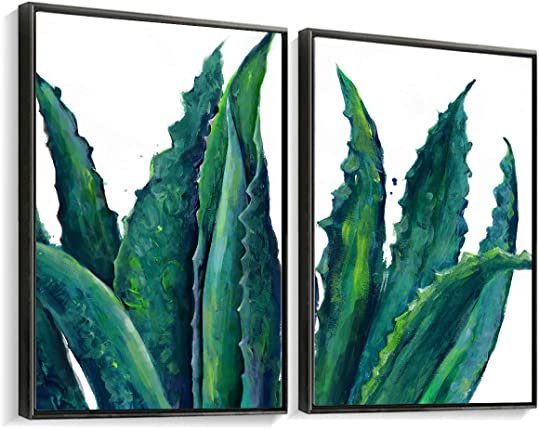Framed Canvas Prints Home Wall Decor Art Dark Green Blue Teal White Aloe Agave Succulents Printed Artist Hand Painted Artwork Pictures Modern Contemporary Hanging Set 2 Panels 24×36″