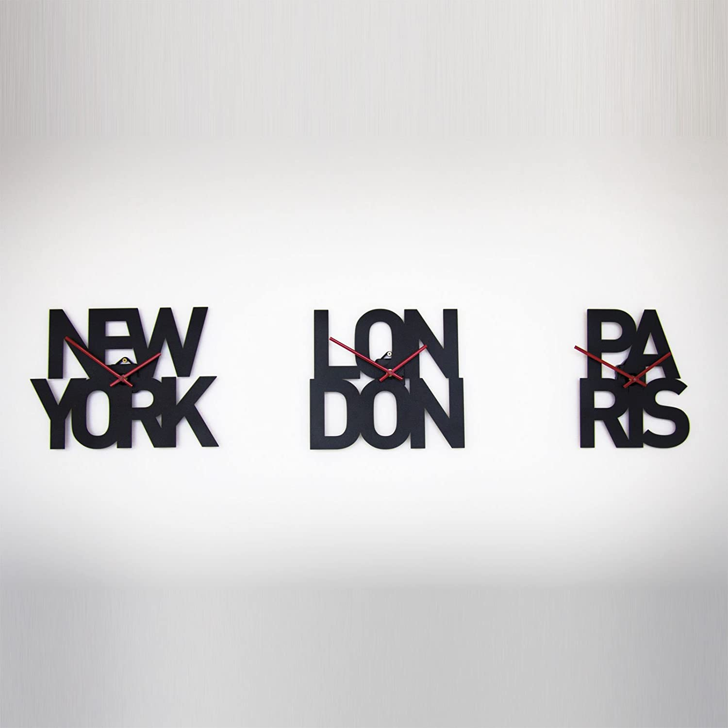 Set of 3 designer typographic city time zone wall clocks new set of 3 designer typographic city time zone wall clocks new york london paris amazon kitchen home amipublicfo Gallery