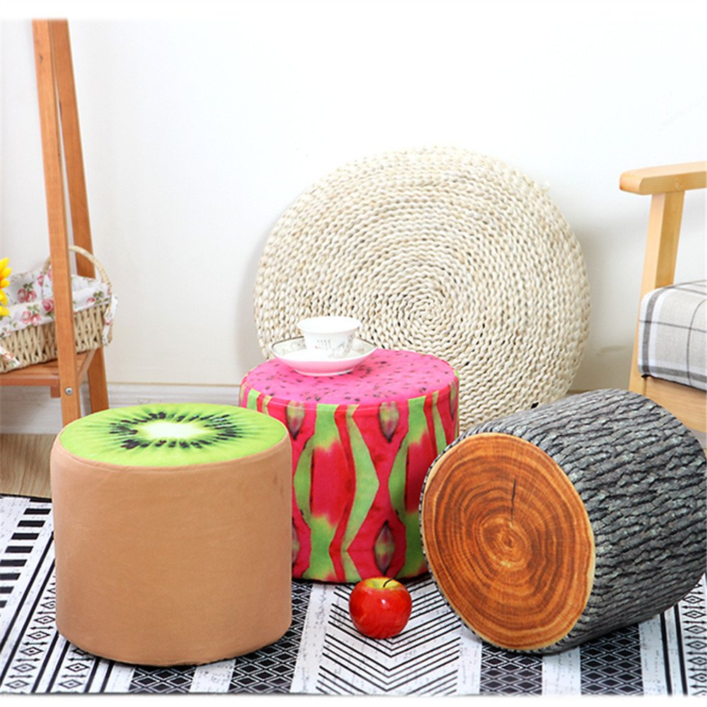 Round Kids Footrest Stool/Bench, Soft Plush Ottoman Foot Seat, Washable Linen Fabric Cover, for Children and Adults (Kiwi) 28cm x 28cm x 26.5cm