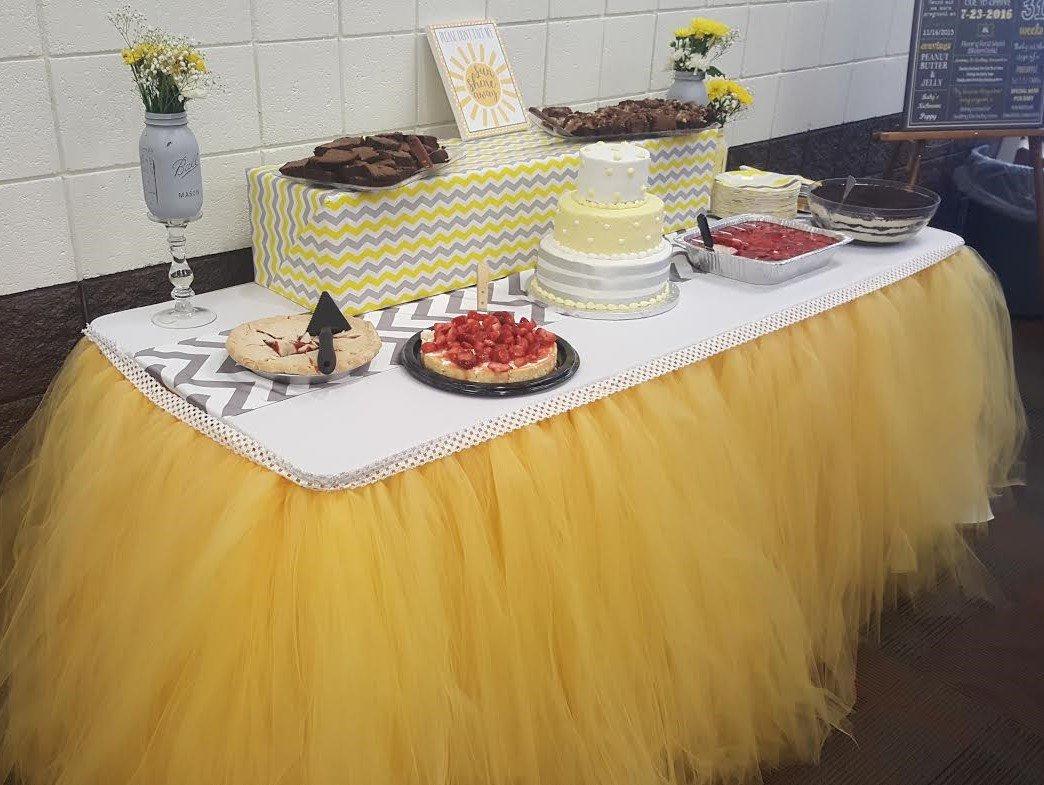 SUMMER RAIN Handmade Tulle Table Skirt Tutu Table Cover Decor for Princess Party Wedding Baby Shower (Yellow) by SUMMER RAIN