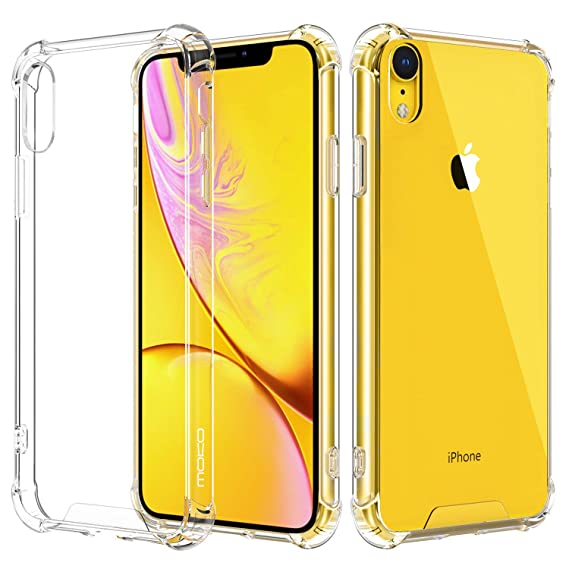 super popular a81d7 456ae MoKo Cover Compatible for iPhone XR Case, Crystal Clear Reinforced Corners  TPU Bumper + Anti-Scratch Hybrid Rugged Transparent Hard Panel Cover Fit ...