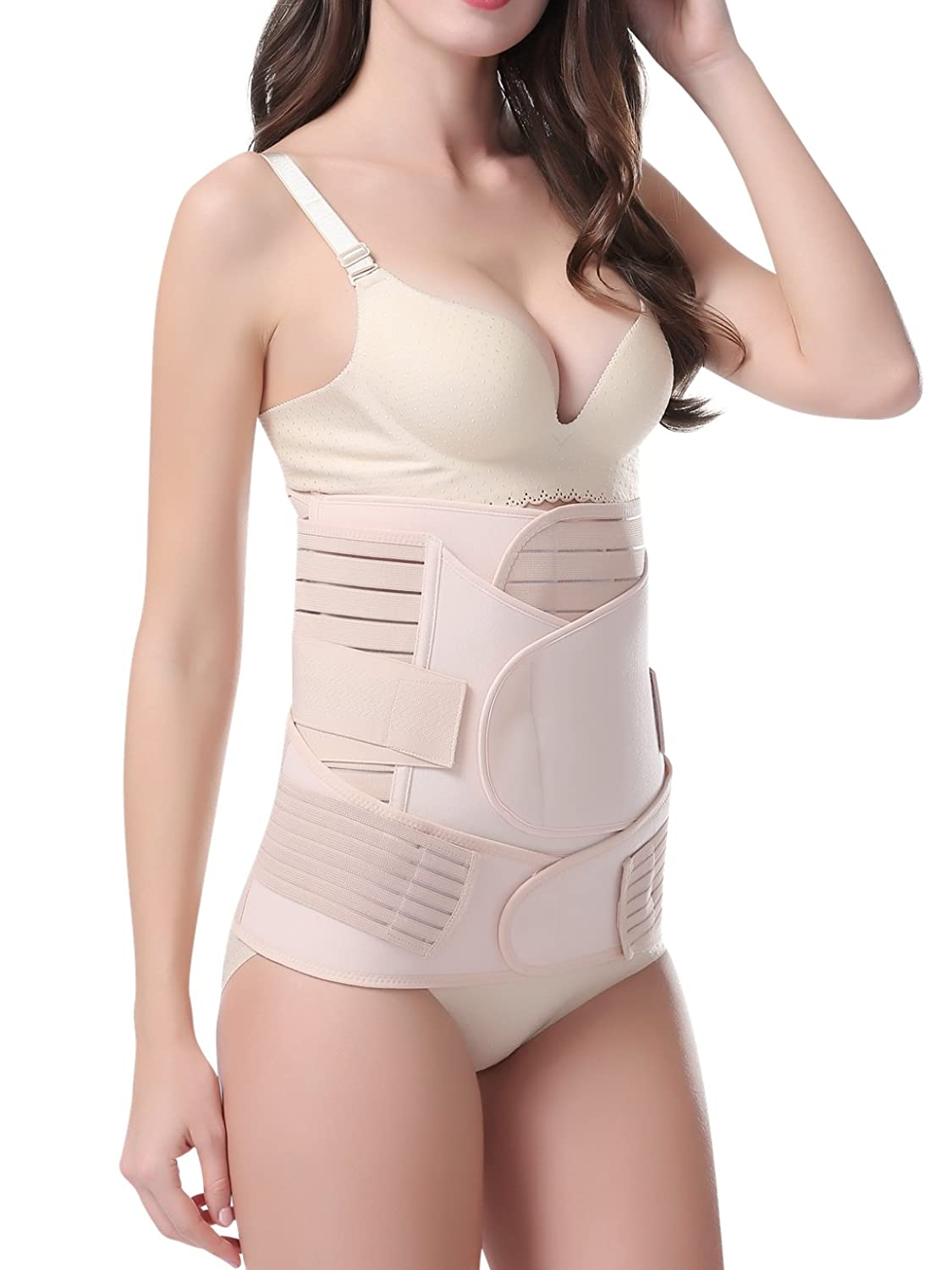 0145c5593 Athaelay 3 in 1 Postpartum Support Recovery Belly Wrap Waist Pelvis Belt Body  Shaper Shapewear Beige at Amazon Women s Clothing store