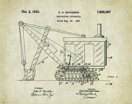Excavator Patent Poster Art Print 11X14 Wall Decor Picture Vintage Road  Construction Heavy Equipment
