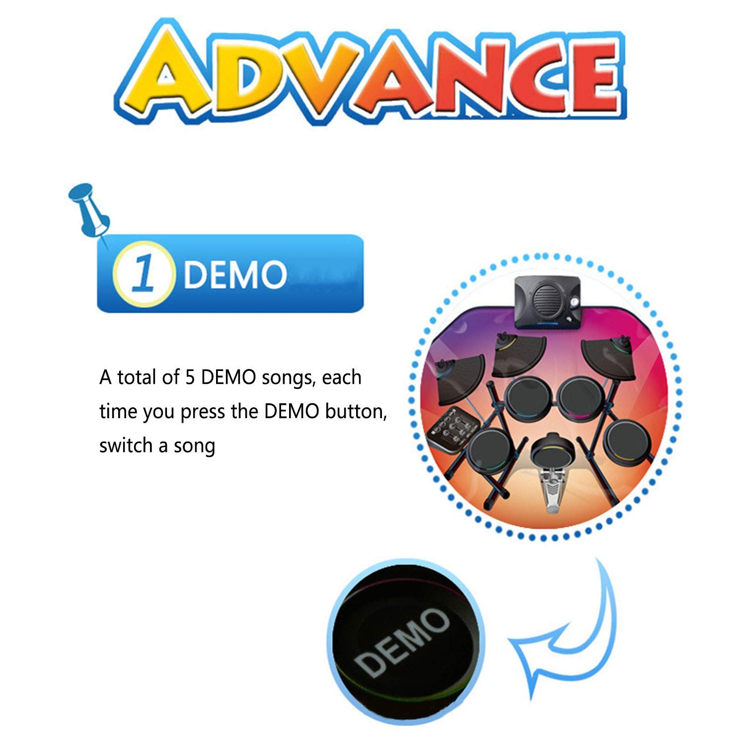 Drum Music Blanket, Jazz Drum Game Pad, Carpet Dance Mat, with Built in Music Tracks, 5 Music, Recording Function, Can Connect to Mobile Phone by ankt777 (Image #3)