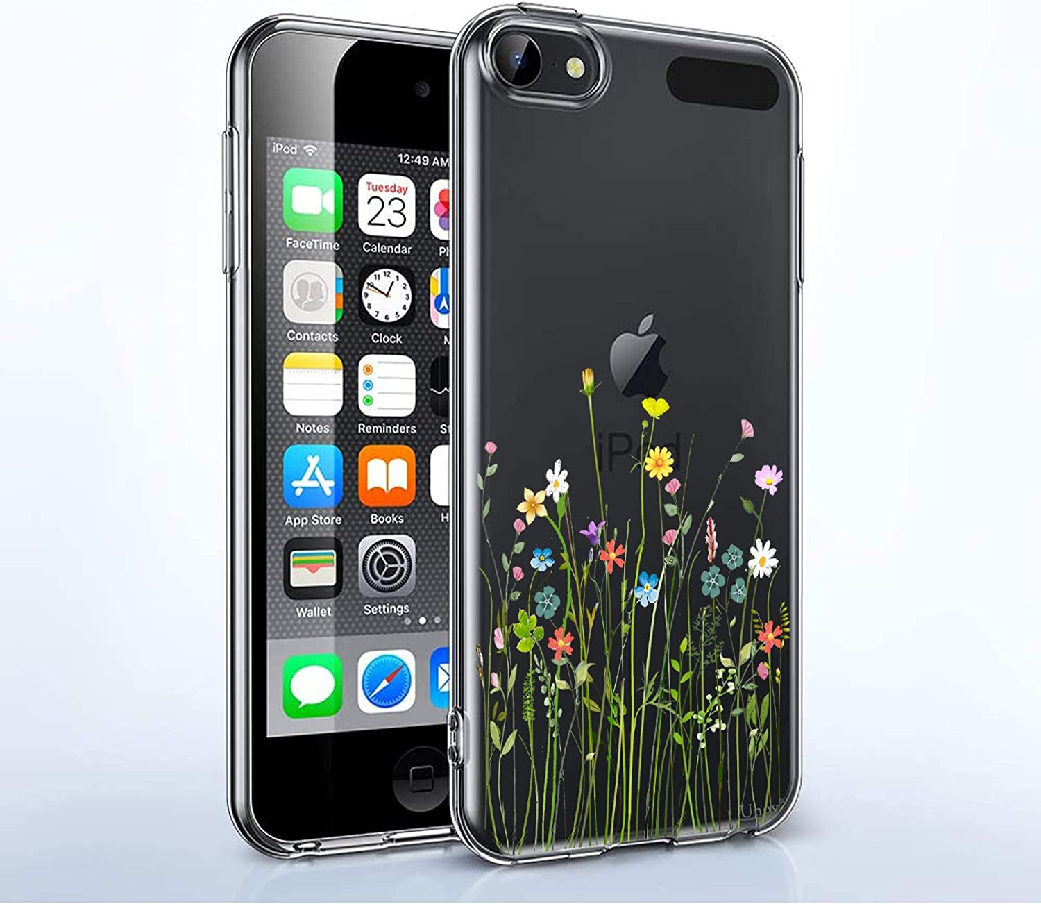 Unov Case for iPod Touch 7 Case iPod Touch 6 Case iPod Touch 5 Case Clear with Design Slim Protective Soft TPU Embossed Pattern for iPod 5th 6th 7th Generation (Flower Bouquet)