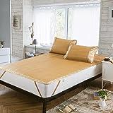 Qbedding Rattan Cooling Summer Sleeping Pad Mattress Topper & Pillow Shams Set (Queen, Neve)