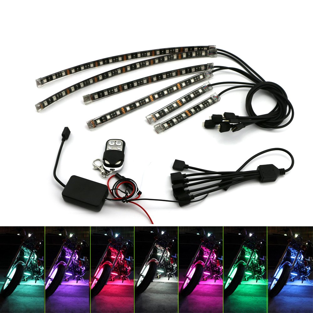 Motorcycle Underglow Strip Lights Kit ZXREEK 6Pcs RGB RF Remote Multi-Color Waterproof Accent Glow Neon Lights Lamp Flexible for Harley Davidson Honda Kawasaki Suzuki Ducati Can Polaris KTM BMW