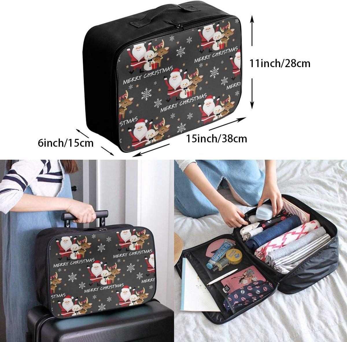 Santa Reindeer Snowman Snowflake Lightweight LargeTravel Storage Luggage Trolley Bag Travel Duffel Bags Carry-On Tote