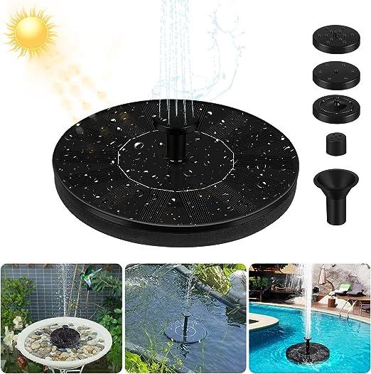 Redmoo Bomba Fuente Solar, Bomba de Agua Solar, Fuente Solar Jardín Mejorada con 4 Boquilla, Rociado de Agua para Baño de Pájaros, Acuario y Decoración de Jardín: Amazon.es: Jardín