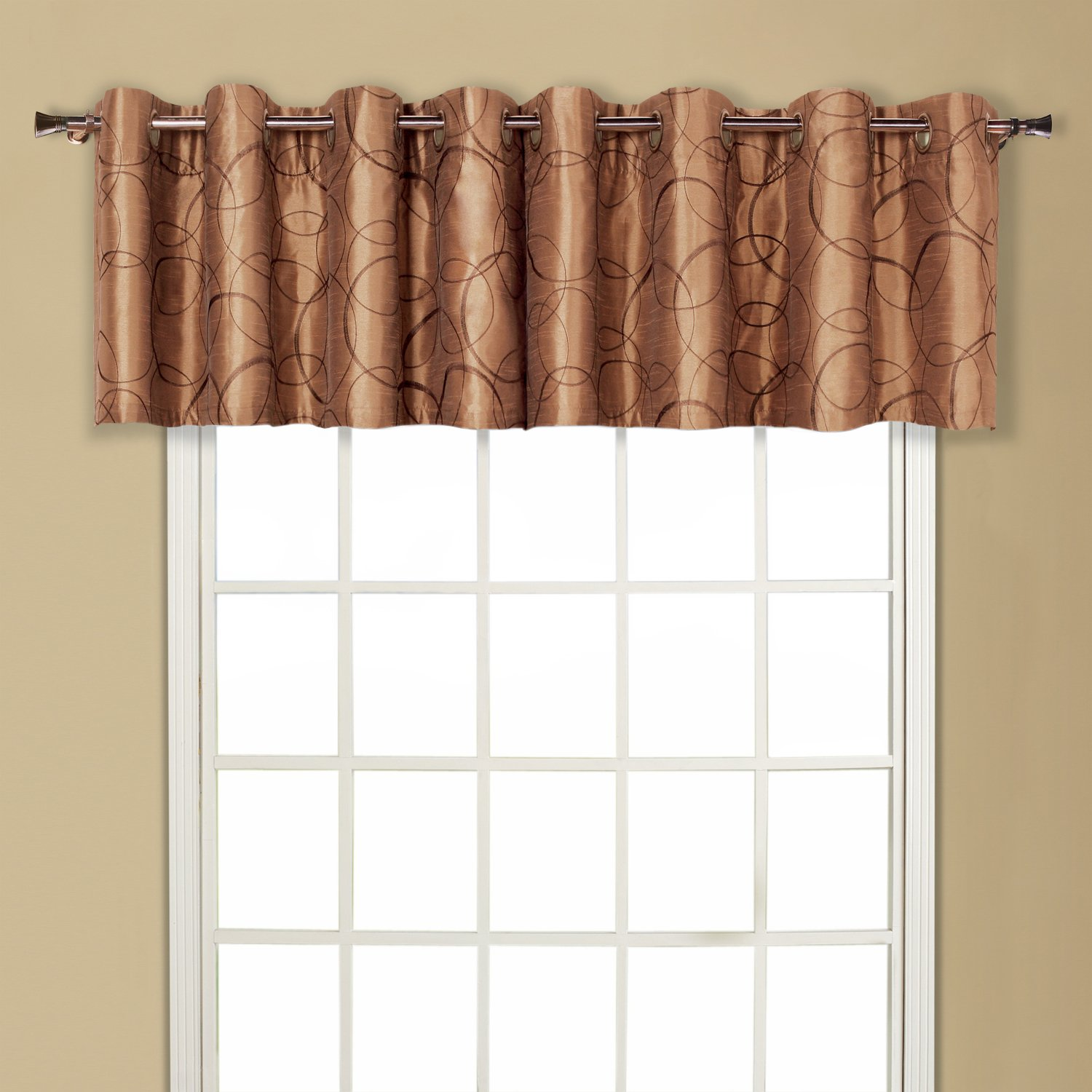 United Curtain Sinclair Embroidered Grommet Valance, 54 by 18-Inch, Chocolate SCVACH