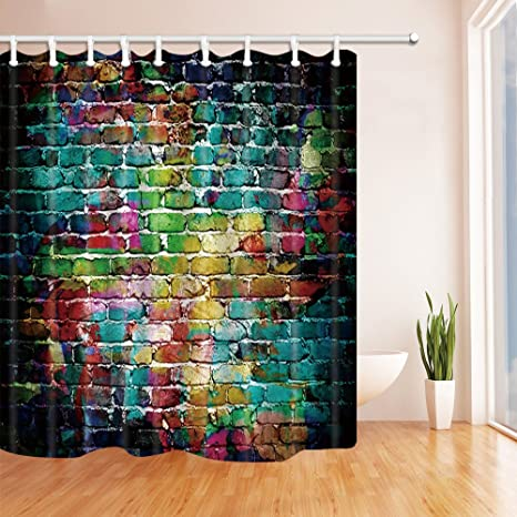 Amazon NYMB Graffiti Decor Colorful Brick Wall Mildew Resistant Polyester Fabric Shower Curtains For Bathroom Curtain Hooks Included