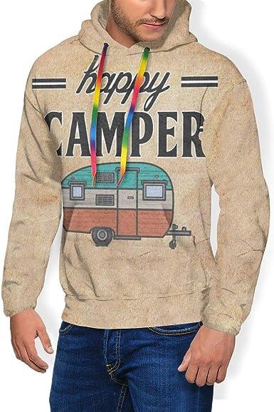 Zachary Sherman Happy Camper - Sudadera para Hombre con Capucha y Sudadera Acolchada de Terciopelo con Capucha y Camisa Informal con Bolsillo Negro M: Amazon.es: Ropa y accesorios