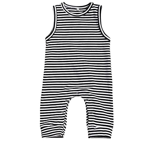 0ce7b115579 HappyMA Infant Newborn Baby Boy Girl Romper Striped Jumpsuit Sleeveless  Outfit Summer Clothes (6-
