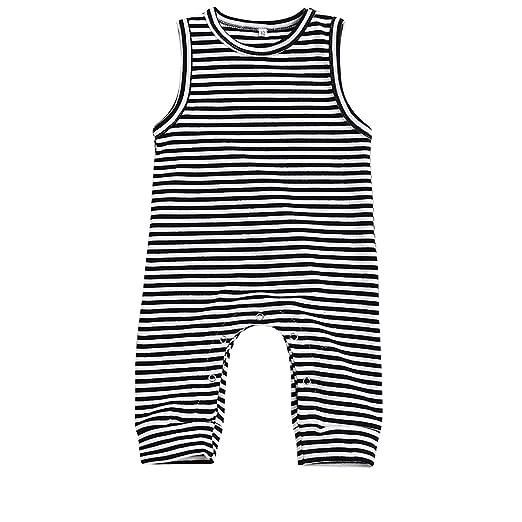 e8e50682ff6f Amazon.com  HappyMA Infant Newborn Baby Boy Girl Romper Striped ...