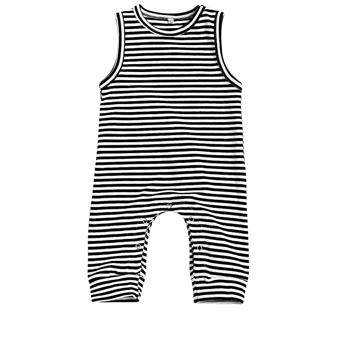 b2673e104c15 Amazon.com  HappyMA Infant Newborn Baby Boy Girl Romper Striped Jumpsuit  Sleeveless Outfit Summer Clothes (6-12 Months)  Clothing
