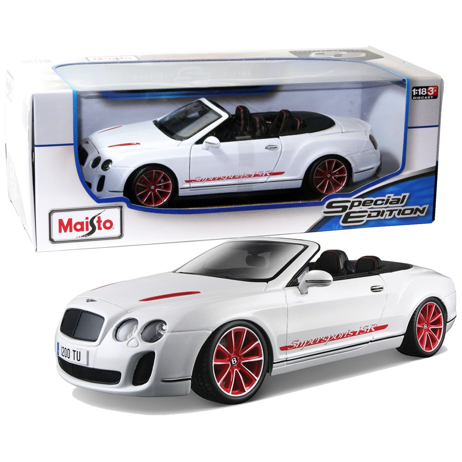 Maisto Year 2014 Special Edition Series 1 18 Scale Die Cast Car Set White Color Grand Tourer GT BENTLEY CONTINENTAL SUPERSPORTS CONVERTIBLE ISR with Display Base Car Dimension 9 1 2 x 4 x 3